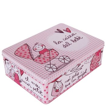 Caja metálica ''la caixa del bebé'' rosa