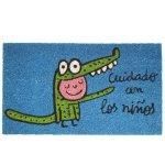 Felpudo azul cocodrilo ''cuidado con los niños''