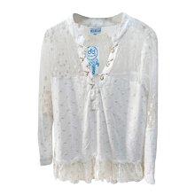 Blusa de algodón con bordado y encaje para playa