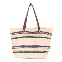 Bolsa Cesta bolso de playa de Lino multicolor