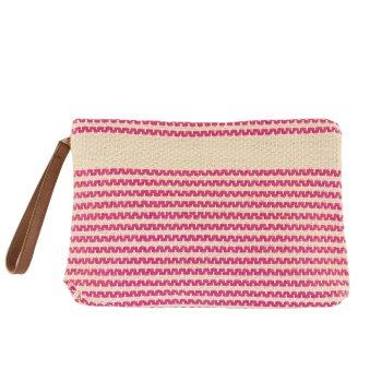 Neceser bolso de mano de lino a rayas rosa