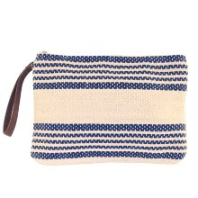 Neceser bolso de mano de lino a rayas azul