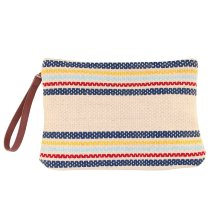Neceser bolso de mano de lino a rayas multicolor