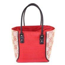 Bolso rígido cesta roja estampado flores