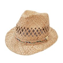 Sombrero verano de fibras con cinta multicolor