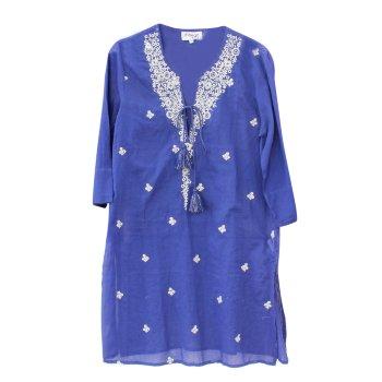 Vestido Túnica Kaftán azul con bordados