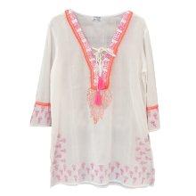 Vestido Túnica Kaftán blanco con borlas fucsia