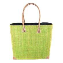 Cesta bolso rígido de palmito y rafia Verde