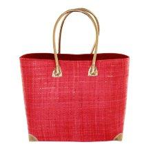 Cesta bolso rígido de palmito y rafia Rojo