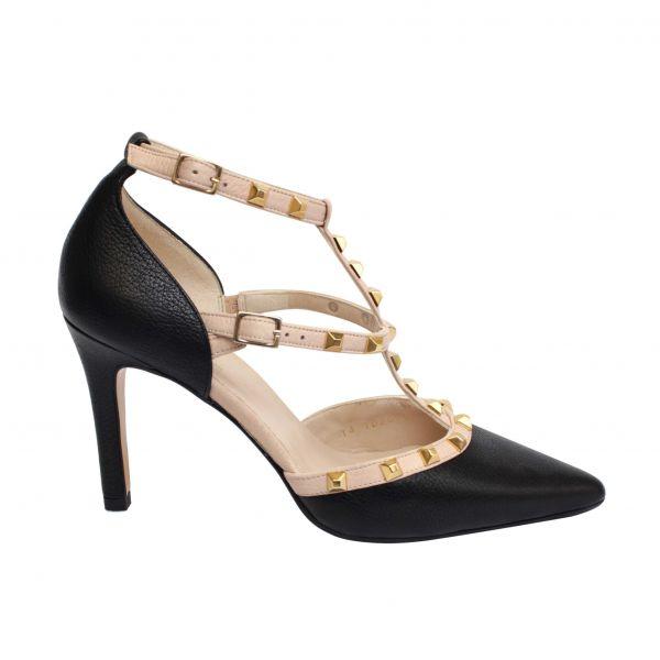 Zapato de tacón Ras salón con tiras y tachuelas
