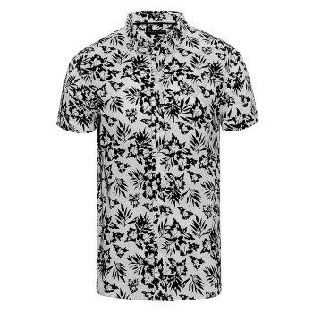 Camisa manga corta hombre estampado Flores negras