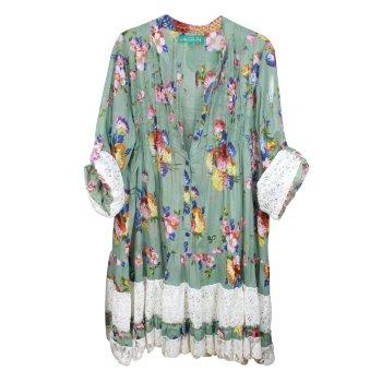 Vestido túnica estampado verde flores y encaje