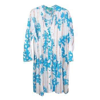 Vestido Túnica blusón blanco y azul