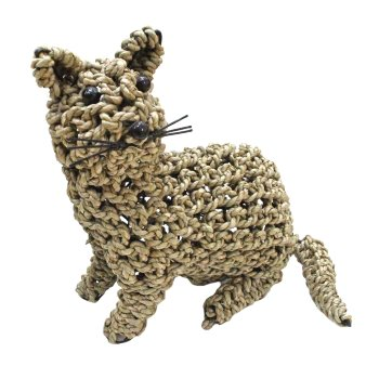 Figura decoración gato de mimbre