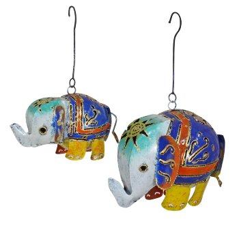 Porta Velas Elefante metal colgante