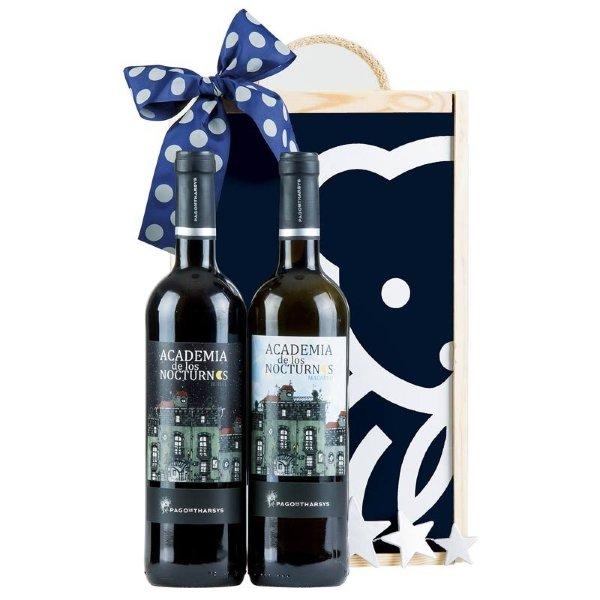 Caja de madera con 2 botellas de vino