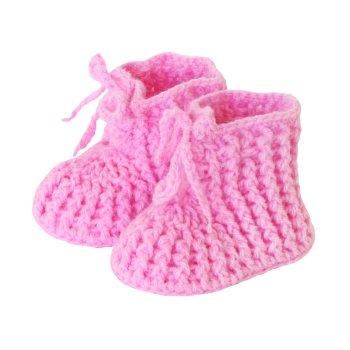 Patucos crochet bebés en fucsia