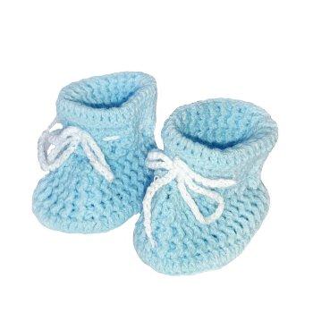 Patucos crochet bebés en azul