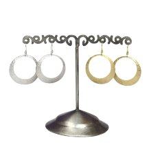 Pendiente anilla plana grabada gancho plata P297