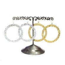 Pendiente aro anillo labrado latón y plata P306