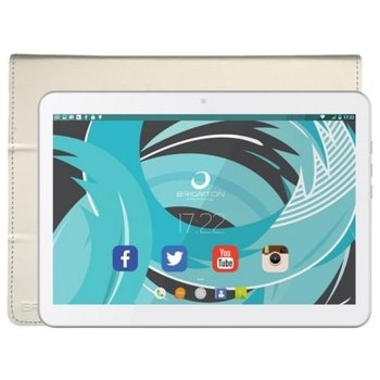Tablet Con Funda Brigmton 10.1'' Quad Core 1 GB RAM 16 GB Blanco