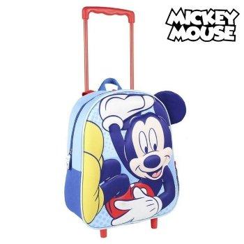 Mochila Escolar 3D con Ruedas Mickey Mouse