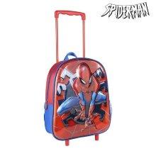 Mochila Escolar 3D con Ruedas Spiderman Rojo Azul