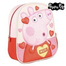 Mochila Infantil 3D Peppa Pig Rosa Rojo