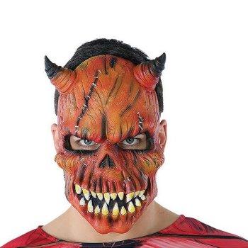 Máscara Halloween Demonio Esqueleto Rojo (21 X 25 cm)