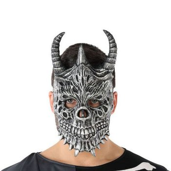 Máscara Halloween Demonio Esqueleto Gris (20 X 33 cm)
