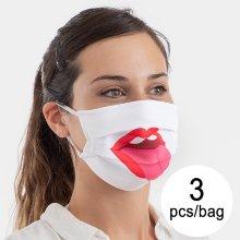 Mascarilla Higiénica de Tela Reutilizable Tongue Luanvi Talla M (Pack de 3)