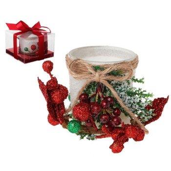 Portavelas Cristal Blanco Decoración Navidad