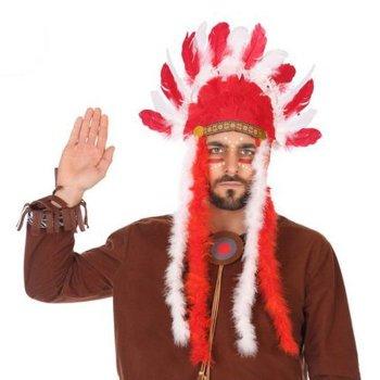 Tocado plumas para Indio Rojo