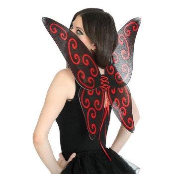 Alas de Mariposa Negro Rojo