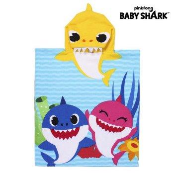 Poncho-Toalla con Capucha Baby Shark Amarillo (50 x 115 cm)