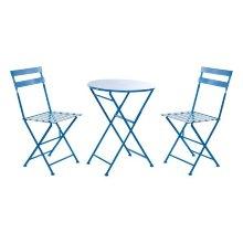 Conjunto de Mesa con 2 Sillas DKD Home Decor Azul Metal