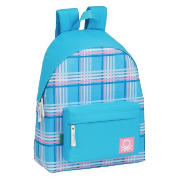 Mochila Escolar Benetton Tartan Azul Multicolor