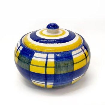 Azucarera de cerámica a cuadros
