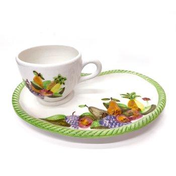 Juego de desayuno. Plato + Taza de cerámica