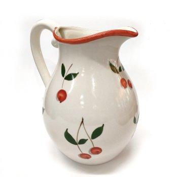 Jarra de cerámica con dibujo cerezas
