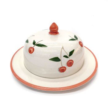 Quesera de cerámica con dibujo cerezas