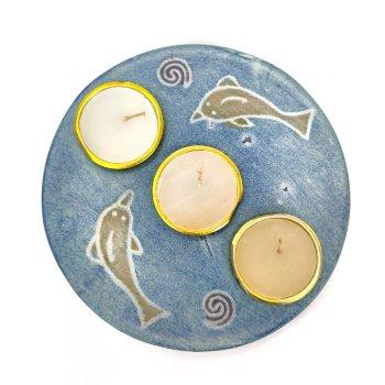 Base portavelas de cerámica en forma redonda