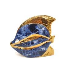 Decoración pez Azul y dorado de porcelana