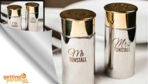 Personalised Cartridge Salt & Pepper Shakers - Mr & Mrs
