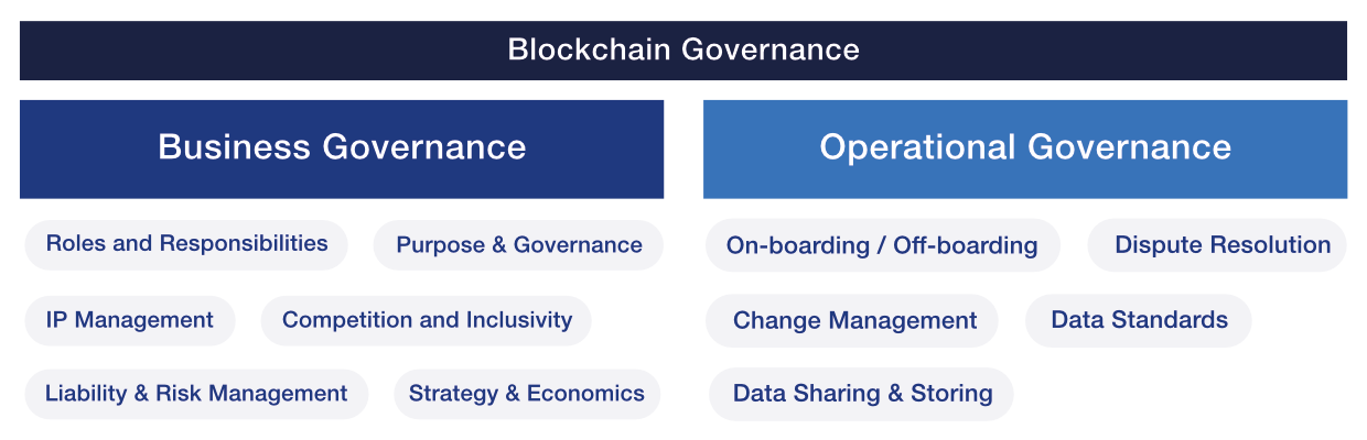 Two types of governance in a blockchain ecosystem and their key considerations