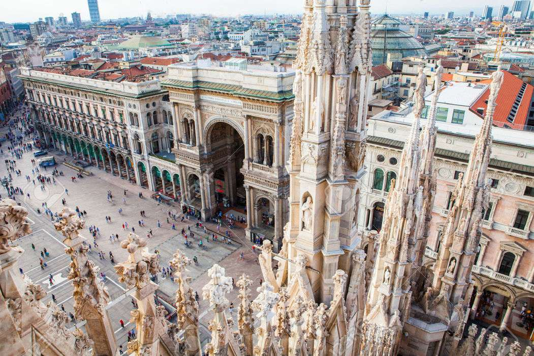Popup 34620810 aerial view of milan from duomo roof terrace with vittorio emanuele gallery italy stock photo