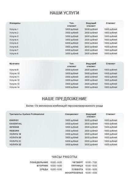 System Professional Man Price list Предпросмотр обратной стороны