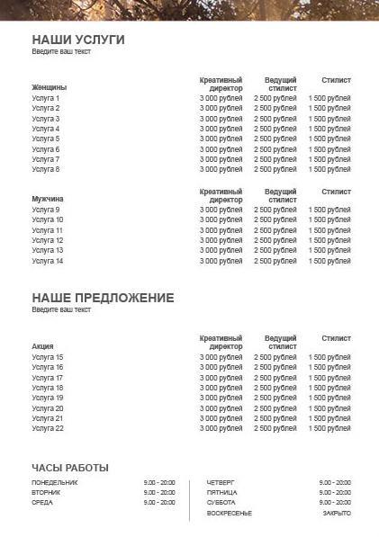 WP Koleston Perfect Sunrise Price List 2 Предпросмотр обратной стороны
