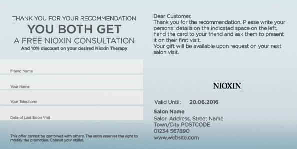 Nioxin Scalp Recovery Referral Card 2 Back Preview