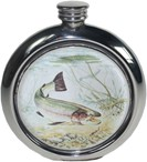 round pewter coloured picture flasks